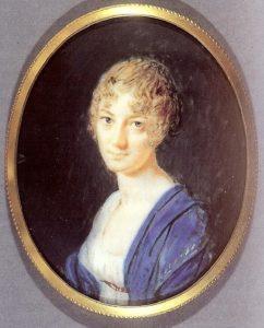 Miniature af Adelaide van Hemert, fundet af Fruen på Østergård i den dekorerede æske.
