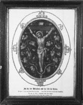 Den korsfæstede frelser på korset. Trykt billede fra 1800-tallet.