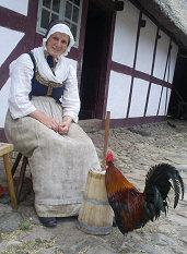 Anne med gårdens store flotte hane